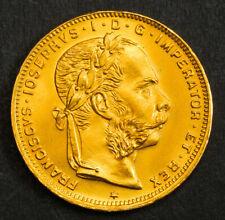 1892 Austria, Franz Josef I. Gold 8 Florins (20 Fr.) Coin. (6.45gm!) Re-Strike!