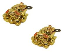 2 Fortune Gold Money Coin Frog Toad Feng Shui Decoration Charm of prosperity