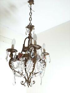 Chandelier Crystal Vintage Lam Brass Light Ceiling Crystals Lighting  Beaded