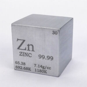 Zinc Metal Density Cube 25.4mm 99.99% 117g for Element Collection