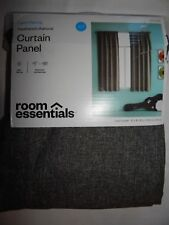 """1 Curtain Panel Room Essentials Light Filtering 42x63"""" Heathered Charcoal Grey"""