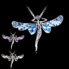 Retro Libélula Angel Plata Tibetana Cristal Colgante Cadena Collar Joyería
