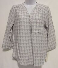 Sonoma Women's Petite Small Gray Owl Blouse Top Shirt 3/4 Sleeve Career Casual