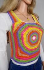 Vtg 1970's Glentex Psychedelic Crocheted Neon Rainbow HiPPiE MOD Sweater Vest M