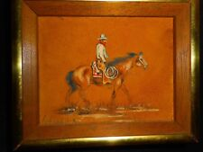 """USA Horse Rider Painting on Suede Leather S. Faulkner Oak Frame 5""""x6"""" Small"""