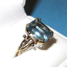 Vintage Art Nouveau 14K Gold and Blue Topaz Ring Size 6.5 Rectangle Cut 12x10mm