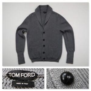 Tom Ford Shawl Collar Ribbed Wool Gray Cardigan Jacket Jumper Italy Large 52 EU