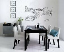 P-51 Mustang Plane Airplane Wall Art Sticker Decal d-214