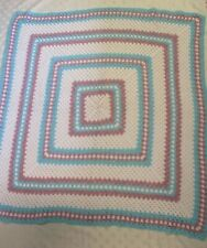 "Hand Crocheted Square Blanket 48"" x 47"" Pale Blue/Pink/White"