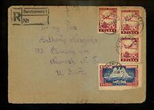 Postal History Poland #C16(3)+ Seal Label Registered 1947 Sandomierz Newark NJ