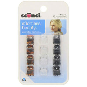 Scunci, Effortless Beauty, Mini Jaw Clips, Assorted Colors, 12 Pieces