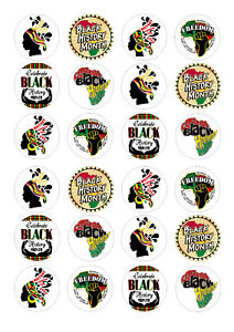 24 edible Black History Month Iced Icing Fondant 4cm Cupcake Toppers Cake