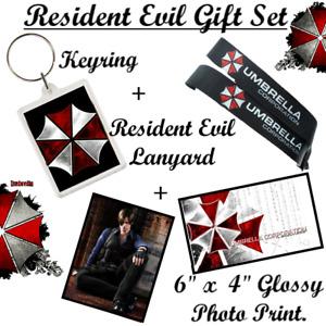 Resident Evil Gamer GIFT SET -Lanyard -Keyring -Glossy Print NEW PS4 Xbox Capcom