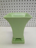 TEC Trenton Pottery Co 8in Green Footed Vase Mid Century Modern