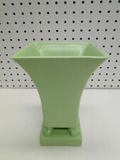 "Art Deco Style TEC Trenton Pottery Co 8"" Green Footed Vase"