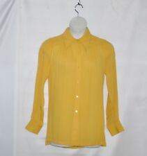 Linea by Louis Dell'Olio Crinkle Peasant Blouse with Belt Size S Yellow