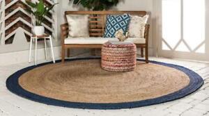 Rug 100% natural braided jute handmade reversible rustic look area carpet rugs