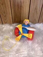 Fisher Price Pull Toy Vintage USA Made Airplane Propeller Jet Plane Quaker Oats