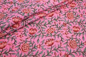Pink Floral 100% Cotton Indian Ikat Hand Block Print Dress Material Craft Fabric