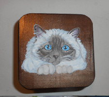 Birman Cat Hand Painted Wooden Jewelry Trinket Box