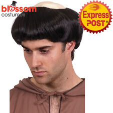 W527 Monk Bald Scalp Mens Costume Wig Priest Head Cap Friar Medieval Religious