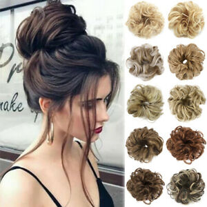 Natural Wavy Curly Messy Bun Hair Piece Scrunchie Synthetic Hair Ties Extensions