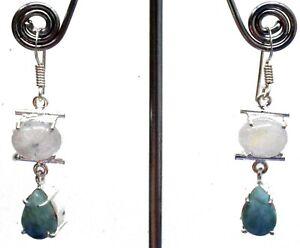 """925 Sterling Silver Larimar & Moonstone Gemstone Jewelry Earrings Size-1.20"""""""
