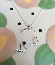 Greyhound Sterling Silver Charm Necklace & Earrings Set - New - FREE SHIPPING
