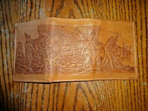 NIB Vintage Sears Roebuck & Co  Tri Fold Leather Wallet Rare Mens Western Style