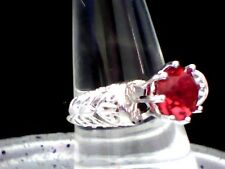 WOW! Solitary Red Garnet  Set into a Filigree Clad Beautiful Ring Silver P 8 1/2