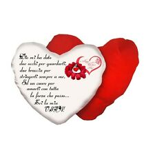 cuscino bianco e rosso a forma di cuore con scritta poesia  AMORE san valentino
