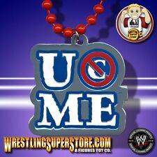 """WWE John Cena """"You Can't See Me!"""" Blue Lettered Pendant W/ Red Beads"""