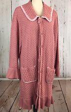 Storybook Knits Women's Long Cardigan Pink Ruffles Front Sz 3X Double button.