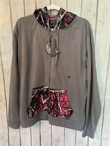 Muddy Girl Camo Pink and Black Camo Zip Up Hoodie Size XL by Sirphis
