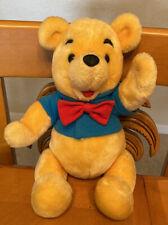 "Vintage Rare Euro Disney Jointed Winnie The Pooh Plush Blue Shirt Bow Tie 15"""