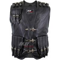 Men's Genuine Cow Leather Heavy Braided Rocker Biker Motorcycle Vest Waistcoat
