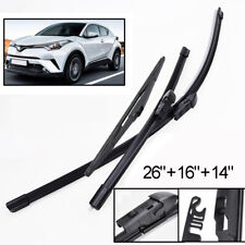 "3Pc Front Rear Tailgate Wiper Blades Set For Toyota C-HR CHR 2017-2019 26""16""14"""