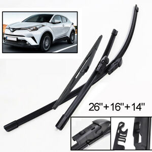 """3Pc Front Rear Tailgate Wiper Blades Set For Toyota C-HR CHR 2017-2019 26""""16""""14"""""""