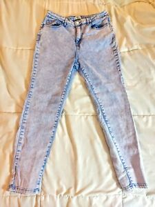 FOREVER 21 80s 90s Acid Wash Periwinkle Lavender High Waist Stretch Skinny Jeans