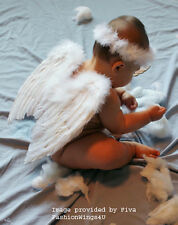 6-12mo Baby Tots costume feather angel wings Free Halo Bonus Poster Frame