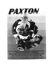Paxton Supercharger Camaro Corvette TPI Tuned Port Chevy Install Manual SBC 1987