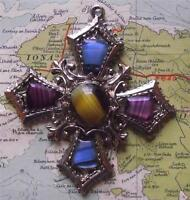 Old Scottish Celtic Silvered Cross Plaid Pendant : Faceted Agate Coloured Stones