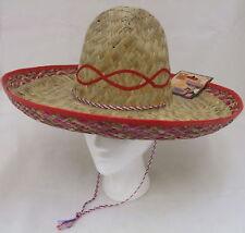 Unisex Sombrero Mexicano hombre disfraz de paja Beis / rojo NUEVO SMIFFYS
