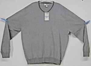 Joseph Abboud NWT GRAY 100% COTTON V Neck Sweater Mens (XL) SOFT LIGHT WEIGHT