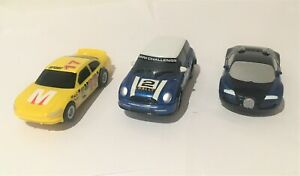 Micro Scalextric cars x3 BMW Mini Veyron yellow GT car