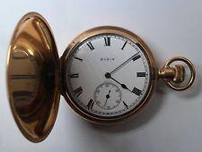 Reloj de bolsillo ELGIN tipo Saboneta chapado en oro - 7 Jewels - Funciona