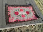 Antique Hand Hooked Textile Rug Pink Floral Flowers