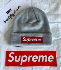 NWT Supreme New Era Box Logo Beanie Gray World Famous Grey Hat FW18 FW19