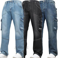 New Mens Combat Cargo Denim Work Tough Black Darkwash Jeans Pants Trousers Waist