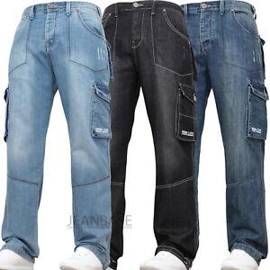 New Mens Combat Cargo Denim Work Tough Black Darkwash Jeans Pants Trousers Waist